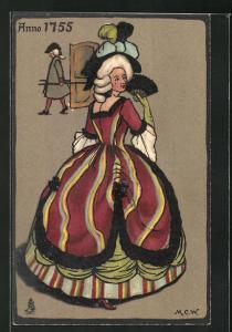 Künstler-AK Dame in weitem Rock, Damenmode 1755