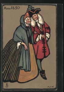 AK Leute in modischen Kleidern Anno 1650