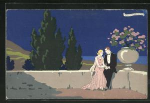 Künstler-AK sign. G. Meschini: Pärchen sitzt händchenhaltend auf einer Mauer, Art Deco