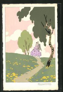 Künstler-AK sign. G. Meschini: Paar beim Spaziergang, Art Deco