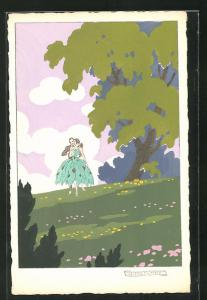 Künstler-AK sign. G. Meschini: Turtelndes Paar auf einer Wiese, Art Deco