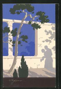 Künstler-AK sign. G. Meschini: Mauerwand mit Schatten eines Pärchens in Umarmung, Art Deco