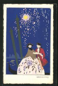 Künstler-AK sign. G. Meschini: Turtelndes Pärchen in einer Gondel unter dem Feuerwerk, Art Deco