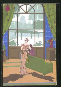 Künstler-AK Liebespaar in einem elegant eingerichteten Salon, Art Deco