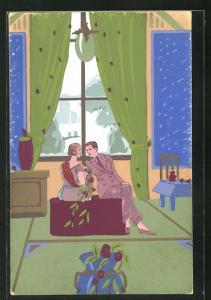 Künstler-AK Liebespaar unterhält sich in einem elegant eingerichteten Salon, Art Deco