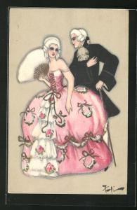 Künstler-AK Kavalier stellt sich einer Dame vor, Art Deco