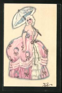 Künstler-AK Elegante Dame mit Sonnenschirm, Art Deco