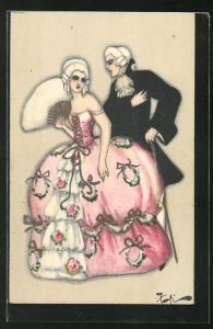 Künstler-AK Eleganter Herr stellt sich einer Dame mit Fächer vor, Art Deco