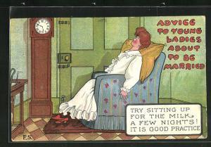 AK Ehefrau sitzt schlafend im Sessel vor der Tür und wartet auf den Ehemann, frauenfeindlicher Humor