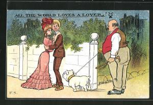AK Verliebtes Paar wird von einem Hund gestört, Scherz