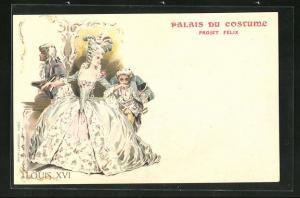 Lithographie Palais du Costume, Projet Fèlix, Louis XVI, Barockmode
