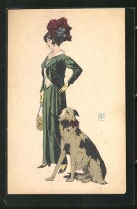 Künstler-AK Modische Dame mit Hund
