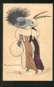 AK Zwei Damen im Pelz mit modischen Hüten