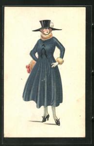 AK junge Dame in modischem Kleid mit Hut