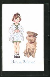 AK He`s a Soldier, Mädchen und Hund mit Soldatenmütze