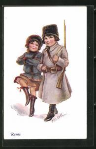 Künstler-AK Joyce Averill: Russia, kleiner Soldat un Maid