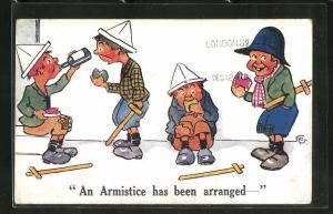 Künstler-AK F. G.:An Armistice has been arranged, Scherz, Kinder spielen Soldaten