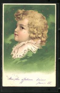 Lithographie Blonder Lockenschopf am Sternenhimmel