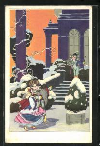AK Kleines Paar auf dem Weg zu winterlichem Ball, Art Deco