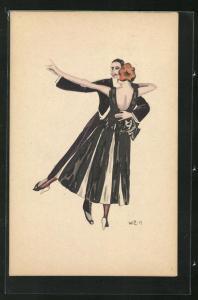 Künstler-AK W. Z.: Tanzendes Paar, Ball, Abendgarderobe