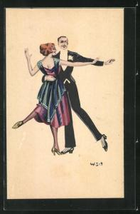 Künstler-AK W. Z.: Tanzendes Paar in Abendgarderobe, Ball