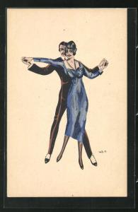 Künstler-AK W. Z.: Elegantes tanzendes Paar, Ball, Abendgarderobe