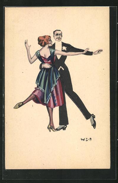 Künstler-AK W. Z.: Tanzendes Paar in Abendgarderobe 0