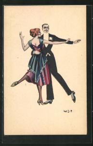 Künstler-AK W. Z.: Tanzendes Paar in Abendgarderobe