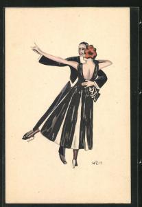 Künstler-AK W. Z.: Paar in Abendgarderobe bei Tanz