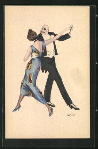 Künstler-AK W. Z.: Tanzendes Paar, Abendgarderobe, Ball