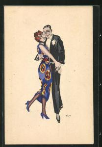Künstler-AK W. Z.: Eng tanzendes Paar, Ball, Abendgarderobe