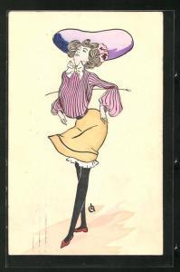Künstler-AK Mode, Dame in gelbem Rock mit rosa gestreifter Bluse und lila Hut in unnatürlicher Pose