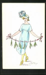 AK Mode, junge Frau in blauem Kleid mit passendem Hut hält Maiglöckchen an Band