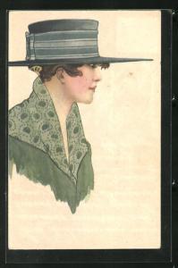 AK Art Deco, Dame im Profil in grünem Mantel mit gepunktetem Kragen und blauem Hut mit langer Krempe