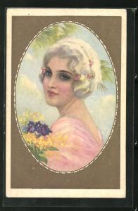 Passepartout-AK Art Deco, Dame mit weissen Haaren in rosa farbenen Kleid mit Blumen, goldener Rahmen