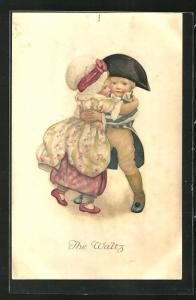 AK Mädchen mit Haube und Junge in Uniform mit Napoleonshut tanzen, The Waltz
