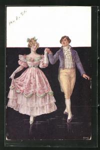 Künstler-AK junge Dame in rosa farbenen Rüschenkleid mit Rosen und Herr in Kniebundhose beim Tanz