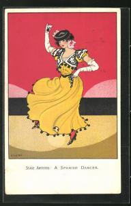 Künstler-AK spanische Dame im gelben Kleid mit Kastagnetten beim Volkstanz, A Spanish Dancer