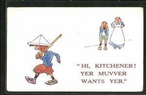 AK Kinder Kriegspropaganda, Junge mit Papiermütze und Holzschwert, Hi, Kitchener, Yer Muvver wants Yer