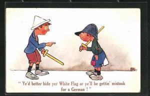 AK Kinder Kriegspropaganda, zwei Jungs mit Holzschwertern, Ye`d better hide yer White Flag or ye`ll be gettin` mistook