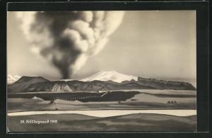 AK Island, Ausbruch des Vulkans Kötlugosid 1918