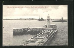AK Colombo, Leuchttürme am Eingang zum Hafen