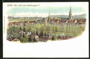 Lithographie Bern, Teilansicht der Stadt, Wer sieht das Stadtwappen?