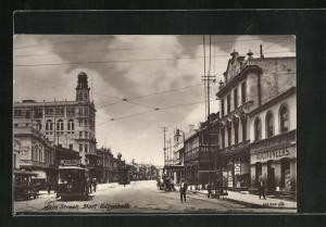 AK Port Elizabeth, Main Street, Partie mit Strassenbahn