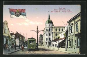 AK Belgrad, Neuer Konak, Strassenbahn