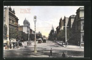 AK Melbourne, General View of Collins St. from Treasury, Strassenbahn