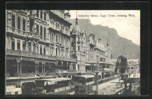AK Cape Town / Kapstadt, Adderley Street looking West, Strassenbahn