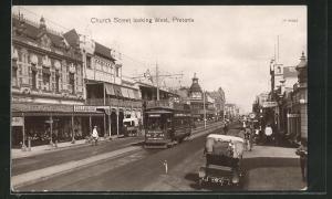 AK Pretoria, Church Street looking West, Strassenbahn
