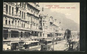 AK Cape Town / Kapstadt, Adderley Street and Table Mountain, Strassenbahn