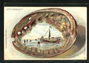 Passepartout-Lithographie Zandvoort, Strandgezicht, Muschel